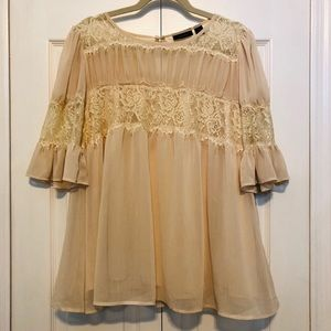 Halogen Cream Lace Peasant Top